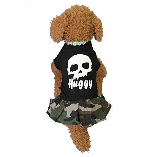 ドッグウェア 犬服 ペット用服 ドクロと迷彩のワンピース(ブラック) Mサイズ