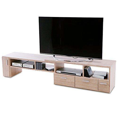 LOWYA (ロウヤ) テレビ台 テレビボード 伸縮 角度自由 コーナー ローボード 50インチ対応 木製 109cm~198cm オーク おしゃれ