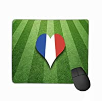 カスタムマウスパッド、ユニークなプリントマウスマットデザインフランス国旗色のハート型サッカー場日当たりの良い人工の緑の芝生色シンボルの背景