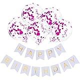 LilyAngel 12インチゴールデン紙吹雪風船誕生日風船ホワイトハッピーバースデーバナープル花誕生日パーティーの衣装。 (色 : A007)