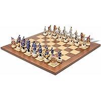 チェスマンチェスセットwithウォールナットまたはMaple Veneer chessboard-アメリカCivil War (ブルーvsグレー)
