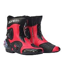 Ocamo メンズ モーターサイクルレーシングシューズ レザーオートバイブーツ 乗馬 オートバイ モトクロス オフロード モトロープ ブーツ 11 レッド YJJ0911-qipei-3F174EC05A