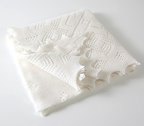 【G.H.HURT&SON】 Super Fine Merino Wool Christening Shawl メリノウールショール (white)(正規代理店商品)