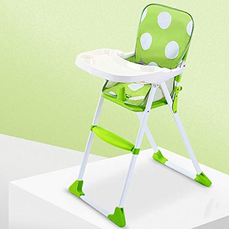 ポータブル 折りたたみ ベイビー ハイチェアー 調整可能 ブースター シート ダイニングテーブル (色 : Green)