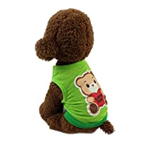 犬服 ペット服 上着 犬用 小型犬 猫 室内 通気 可愛い 脱毛保護 春 夏 かっこいい お出かけ 散歩 絵柄 ベット用品 オシャレ シンプル (XS, グリーン1)