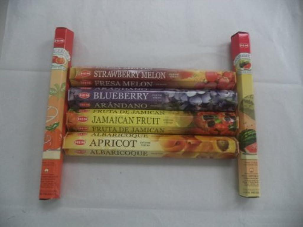 空気染料協定Hem Fruitさまざまなお香セット6 x 20 = 120 Sticksさまざまなギフトパック