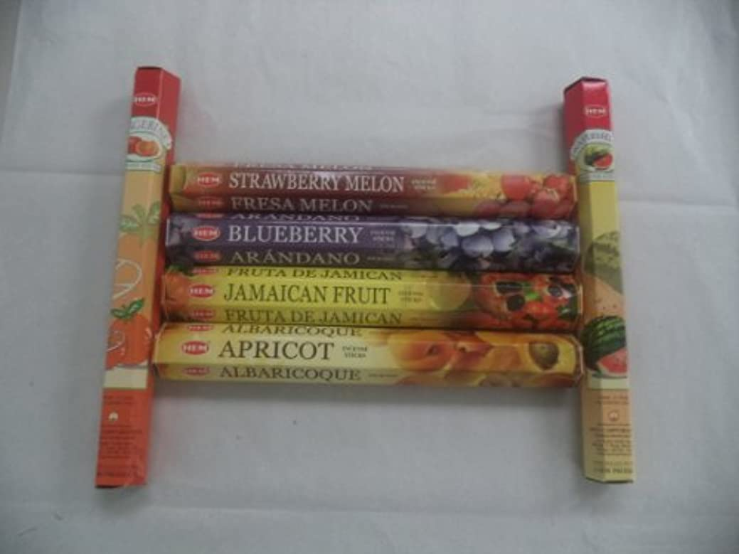 ジャンクくすぐったい国Hem Fruitさまざまなお香セット6 x 20 = 120 Sticksさまざまなギフトパック