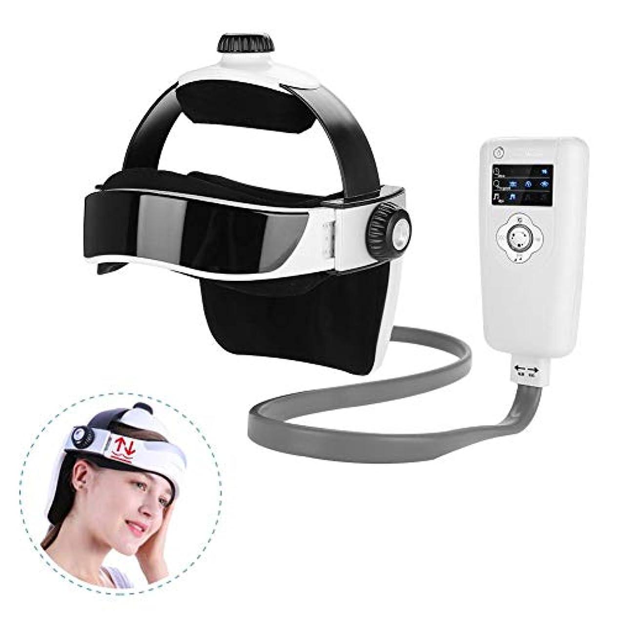 オフ自然ネクタイヘッド振動マッサージャー、電気インテリジェント指プレスマッサージヘルメット、恒温脳リラックスワイヤレスコントローラーと内蔵音楽ヘルスケアツール付きマッサージ