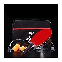 GUYUEXUAN シングル卓球ラケット、ラケットバッグと3つのボールを使用した水平およびストレートショット、プロフェッショナル両面粘着防止仕上げ卓球ラケット で作られた (Color : Red B)