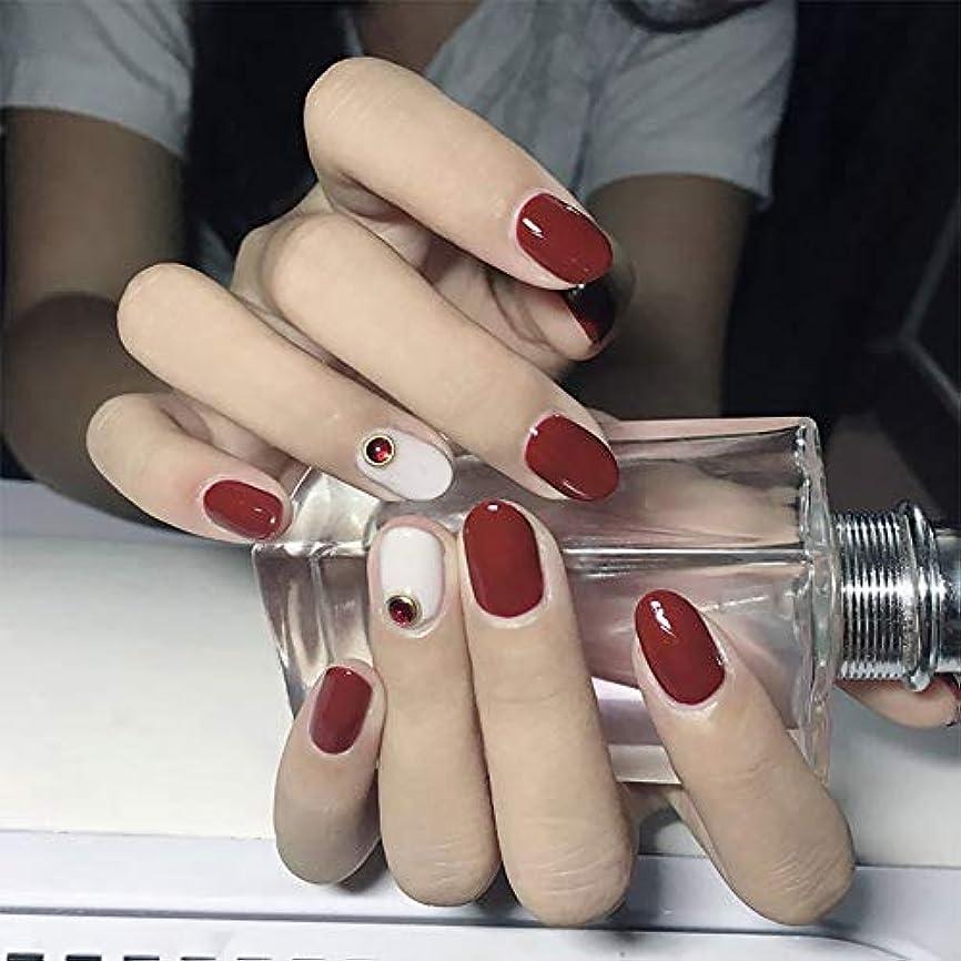 広範囲ブロンズフォーマットXUTXZKA 短い偽ネイルの女性の偽の爪を持つブライダル結婚式の赤い色のヒント