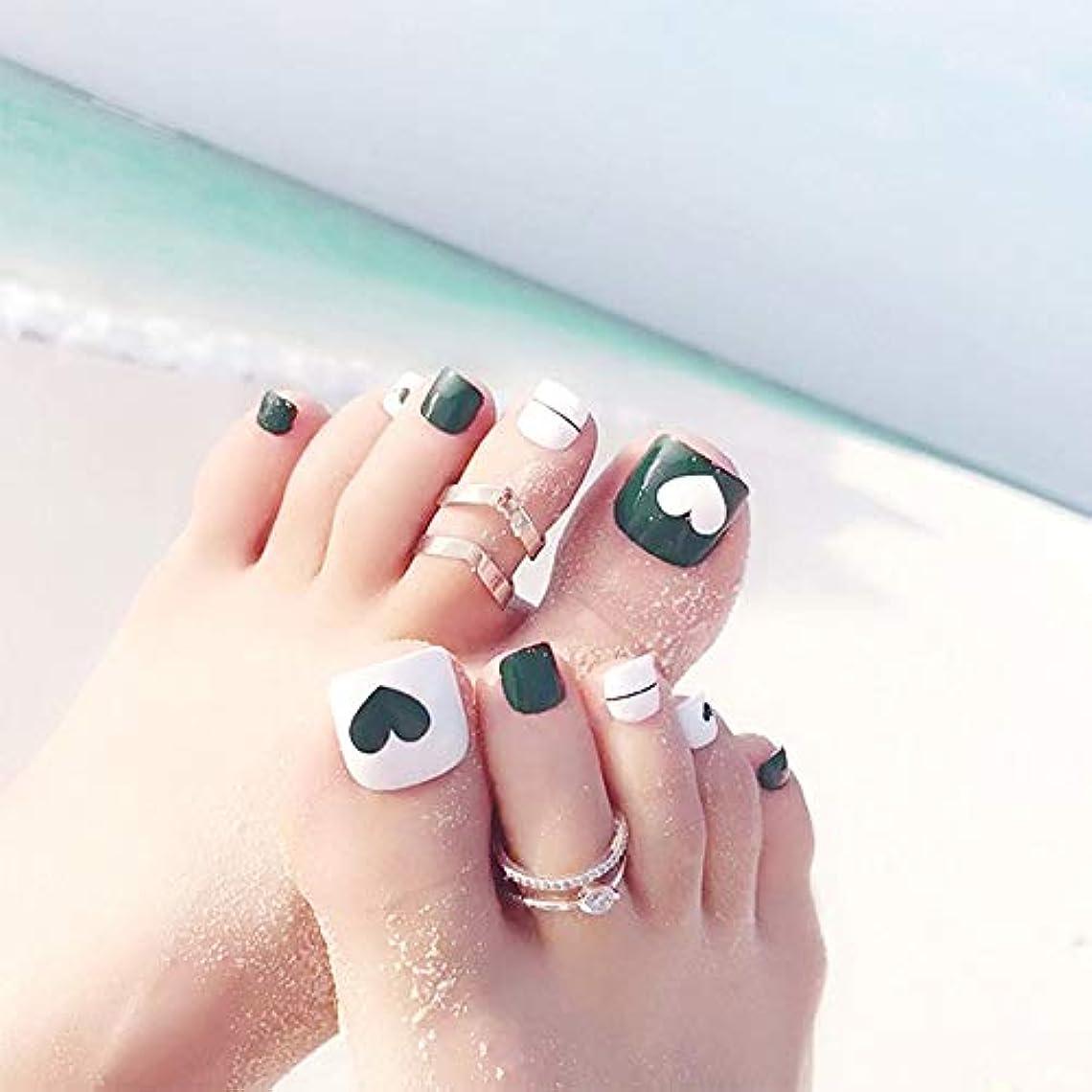肯定的危険にさらされている珍しいXUTXZKA 緑色のネイルアートのヒントホリデービーチフットフェイクネイルハート型のパターントレンディなつま先の爪