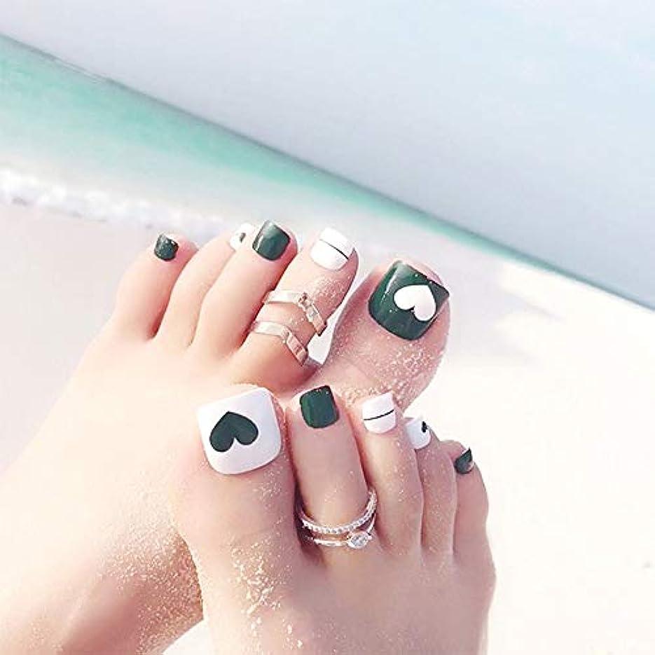 蚊悪いアフリカ人XUTXZKA 緑色のネイルアートのヒントホリデービーチフットフェイクネイルハート型のパターントレンディなつま先の爪