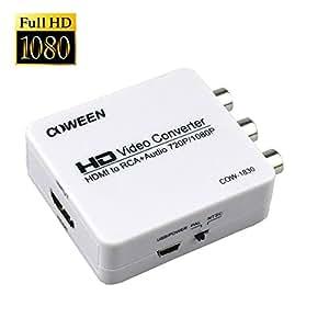 HDMI to AV コンバーター 1080p対応 HDMI to RCAコンポジット 光BOXも対応 アナログ HDMIコンバーター HDMI2AV 変換 端子 CVBS変換 PAL or NTSC HDMI変換端子 USBケーブル付き UP Scaler 1080P
