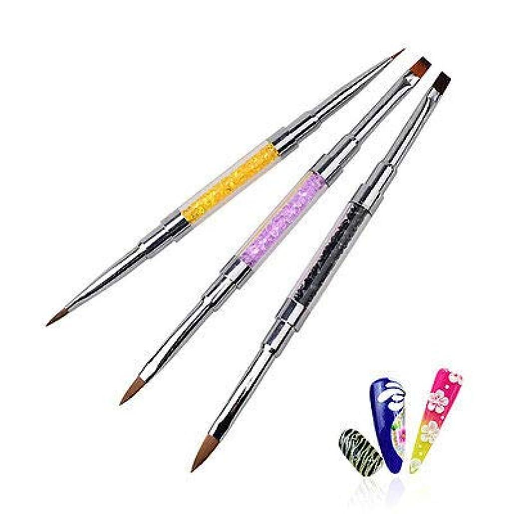 その結果ちらつき主流FidgetGear ネイルアートダブルエンドUVジェルクリスタル彫刻ペンブラシとラインストーンのヒント 紫の