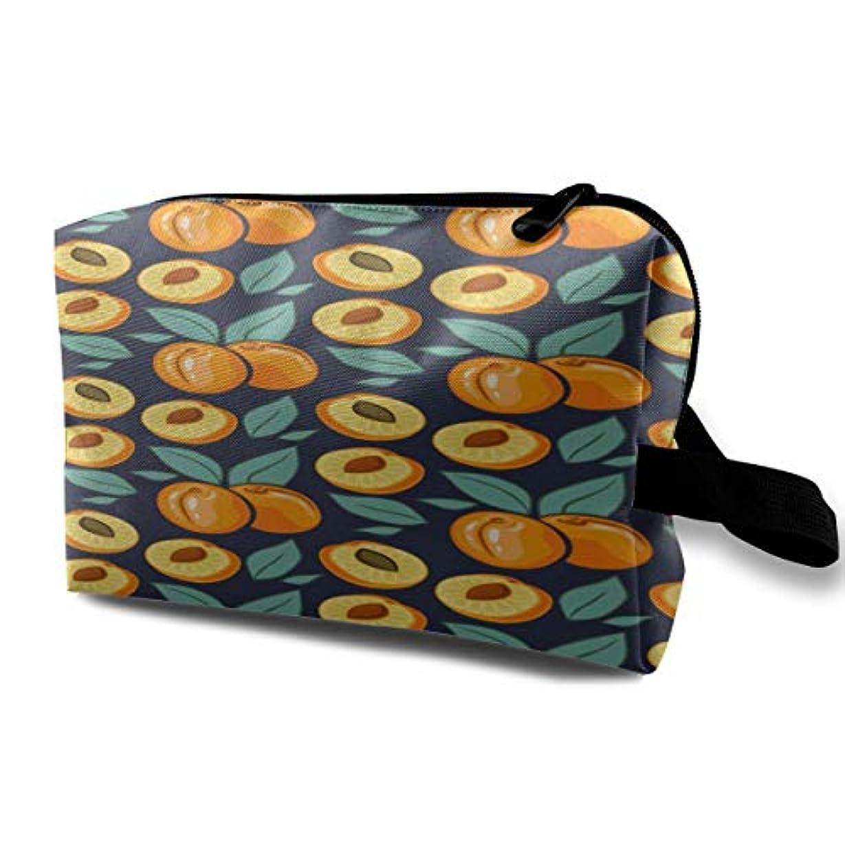 適度にオープナー基礎理論Apricot Leaves Pattern 収納ポーチ 化粧ポーチ 大容量 軽量 耐久性 ハンドル付持ち運び便利。入れ 自宅?出張?旅行?アウトドア撮影などに対応。メンズ レディース トラベルグッズ