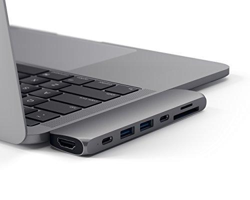 Satechi Type-C アルミニウム Proハブ Macbook Pro 13/15インチ用 40Gbs Thunderbolt 3 4K HDMI パススルー充電 Micro/SDカード USB 3.0ポート×2 マルチ USB ハブ (スペースグレイ)