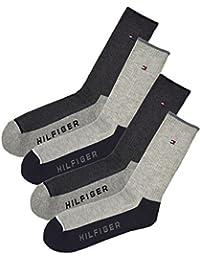 TOMMY HILFIGER トミーヒルフィガー メンズ 靴下 ソックス 4足セット 黒 灰 ブラック グレー スポーツ ビジネス ハイソックス [25cm-30cm] [atv392h87] [並行輸入品]