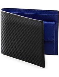 LISSVIA 財布 二つ折り財布 本革 カーボンレザー 小銭入れ付き メンズ