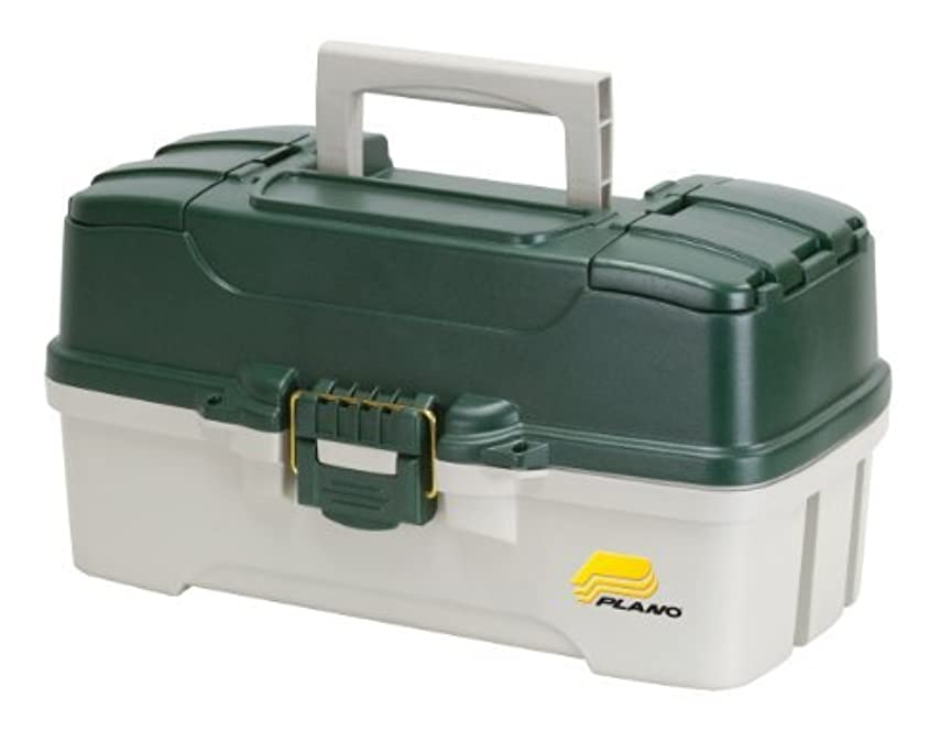 分類法令賠償Plano 3-Tray Tackle Box with Dual Top Access, Dark Green Metallic/Off White [並行輸入品]