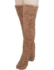 Miuko 足が出せるロングカバー 極暖 レッグウォーマー ふわふわ靴下 ロングソックス 冷えとり靴下 毛布ソックス 冷え対策 防寒ソックス あったか 超厚手 男女兼用