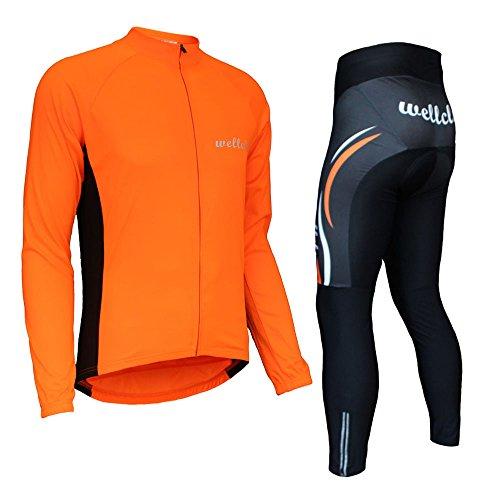 ウェルクルズ(Wellcls) サイクルジャージ 長袖 上下セット サイクルウェア 自転車 サイクリング (オレンジ, XXL)