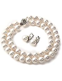 Tium 高級 国産 天然貝 パールネックレス フォーマル 冠婚葬祭 結婚式 真珠 ネックレス (イヤリングセット)