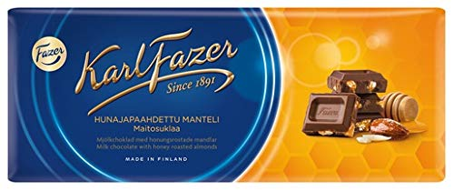 Karl Fazer ハニー ロースト アーモンド チョコレート 200g 2枚セット (400g) フィンランドのチョコレートです [並行輸入品]