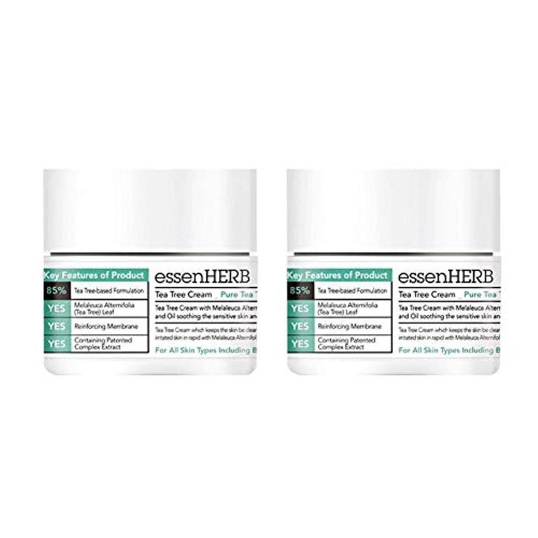 マントル系統的先行するエッセンハーブティーツリークリーム50ml x 2本セット鎮静美白シワ改善、essenHERB Tea Tree Cream 50ml x 2ea Set Skin Soothing Whitening Wrinkle...