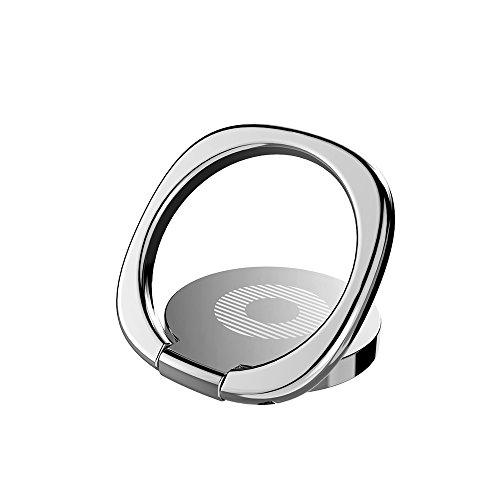 KYOKA スマホ リング ホールドリング 薄型 スタンド機能 落下防止 車載ホルダー 360回転 iPhone/Android各種他対応 (シルバー)