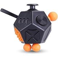 12in1 ストレス解消キューブ Axmda Fidget Cube おもちゃ Fidget Toys キューブ 不安 緊張 リリーフ Relievesストレスと不安の子供と大人 玩具 フィジェットキューブ ギフト ストレス解消 ルービック キューブ ポケットゲーム ブラック