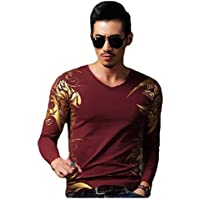 Howely Mens Loose-Fit Long Sleeve Print Chinese Bronzing Blouse T-Shirt Tops