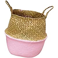 IPOTCH 織物 植木鉢 バスケット 花瓶  ストレージバッグ オーガナイザー 折りたたみ可能 全3色3サイズ - ピンク, S