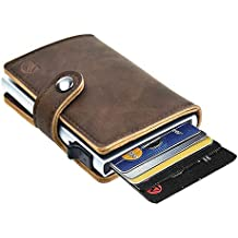 Dlife Credit Card Holder RFID Blocking Wallet Slim Wallet PU Leather Vintage Aluminum Business Card Holder Automatic Side Slide Trigger Card Case Wallet Security Travel Wallet