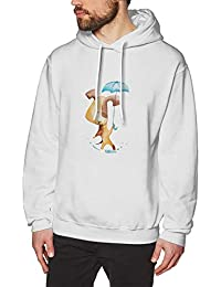 BerryeE犬 傘 パーカー メンズ Tシャツ 長袖 無地 個性 通勤 ゲーム ジョギング ファッション スウェット カジュアル フード付き ロゴ プルパーカー 男女兼用 秋冬