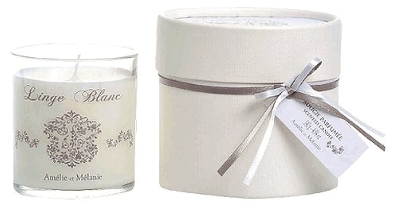 立ち向かう故意の縫い目Amelie et Melanie(アメリー&メラニー) Linge Blanc(リネンブランシリーズ) グラスキャンドル 140g 3420070207098