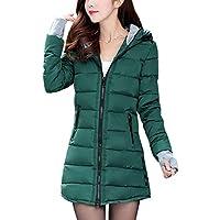 BOZEVON Women Winter Coat - Warm Slim Hooded Down Padded Long Jacket Coat, Ladies Parka Outwear