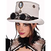 Arsimus Steampunk White Top Hat with Cameo Pendant