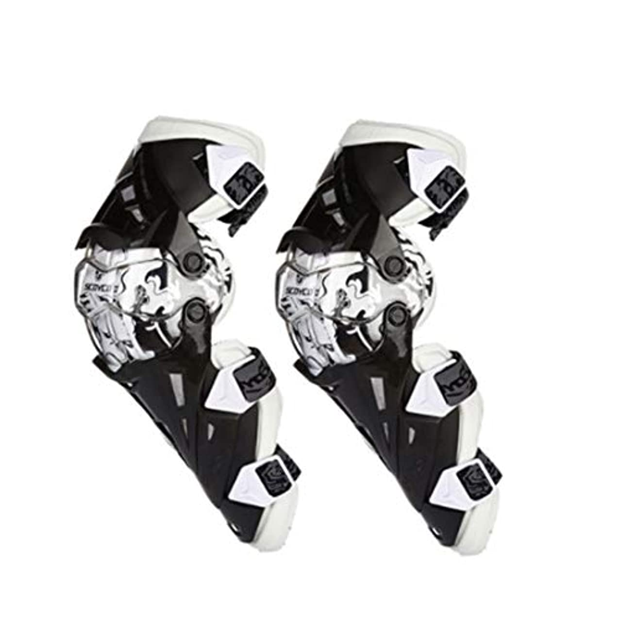 FELICIAAA 膝パッド、調整可能なロングレッグスリーブギアクラッシュプルーフアンチスリップオートバイマウンテンバイク1ペアのための保護警備員 (色 : ホワイト)