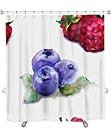 "Gear New Pattern with Raspberry & Blueberries Shower Curtain, 74"" X 71"" [並行輸入品]"