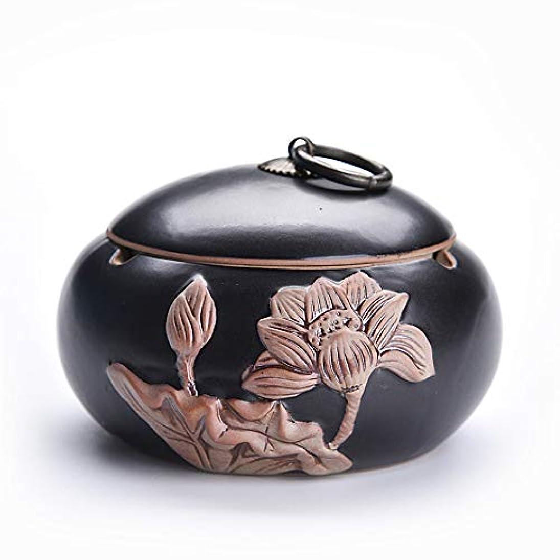 ボーダー魔術師スタジオ中国のレトロな創造的な鍋形セラミック灰皿ふた付き
