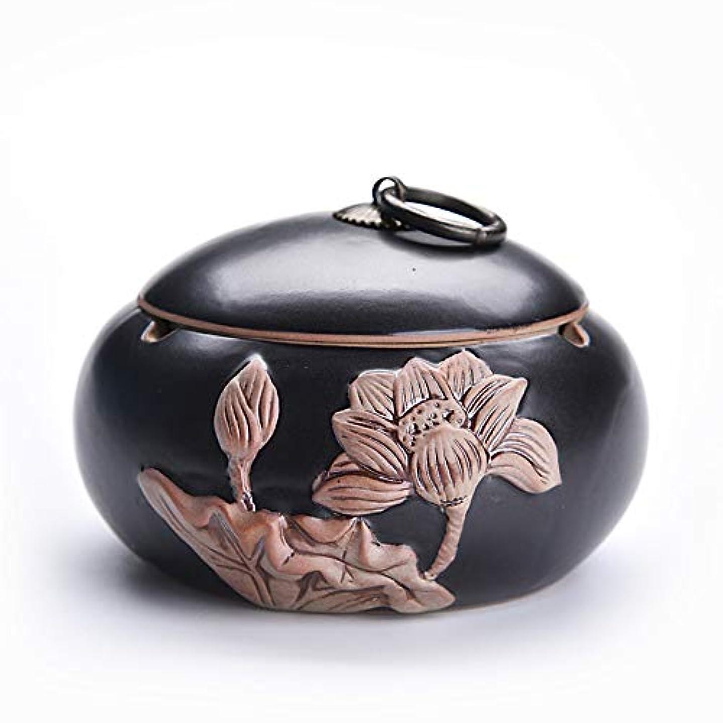 魚転送駅中国のレトロな創造的な鍋形セラミック灰皿ふた付き