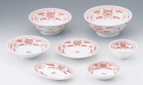 カネ定製陶 中華紅蘭 6.0丸高台皿