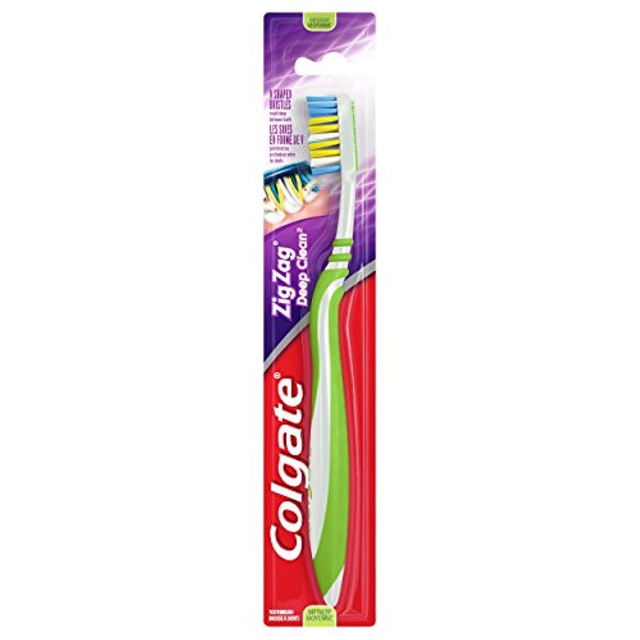 白いアクティビティ散歩Colgate ジグザグディープクリーン歯ブラシ、ミディアム(6パック)