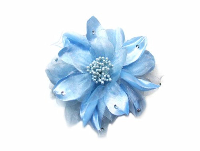 【waiwai】サテンXオーガンジ春コサージュ ブルー YS-5553
