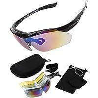 【Barsado】UV400 スポーツサングラス サングラス レンズ5枚 収納バック付き 12点フルセット