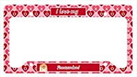 Carolines Treasures LH9170LPF 12 x 6 in. Pomeranian Valentines Love and Hearts License Plate Frame