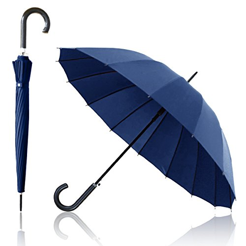 Ombrage 16本骨ジャンプ傘 【ネイビー】 ジャンプ傘 ワンタッチ テフロン加工 水をはじく 超撥水 長傘 梅雨 ゲリラ豪雨 夕立 大きい