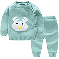 LOSORN ZPY Baby Girl Knitted Cotton Sweater Cardigan + Crochet Pant Set Spring Autumn