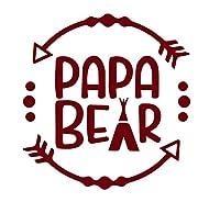 Papa Bearロゴ( Set of 2)プレミアム防水ビニールデカールステッカーforノートパソコンMacbookタブレット電話車ヘルメットウィンドウバンパーMug Tuber Cupドア壁装飾 3.8'' x 3.8'' レッド ANG-93