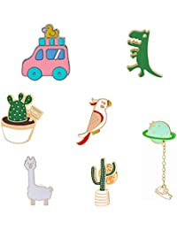Lemoo Cute Enamel Lapel Pin Sets Carton Animal Brooch Pin for Kids Boys Girls (Parrot in Forest Set of 7)